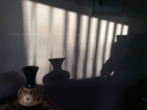 A shadow casting its object.